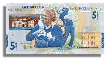Jack Nicklaus on Royal Bank £5 note